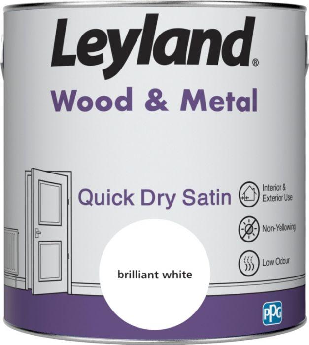 Leyland Wood & Metal Quick Dry Satin Brilliant Wht 2.5ltr