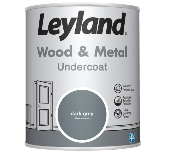 Leyland Wood & Metal Undercoat Dark Grey 750ml