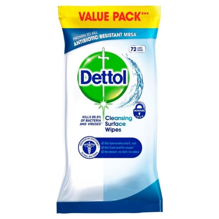 Dettol Anti Bacterial Wipes Pack 72
