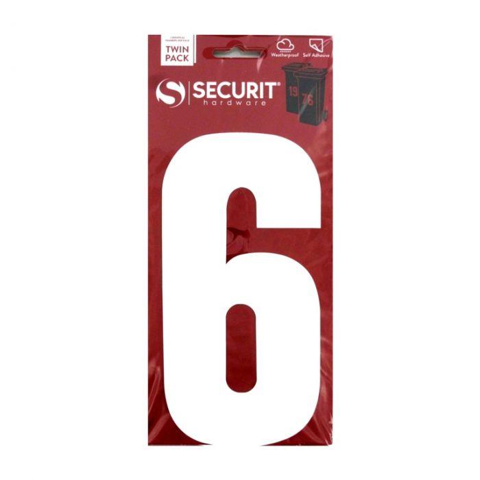 Securit White Self Adhesive Wheelie Bin Numbers Pack 2