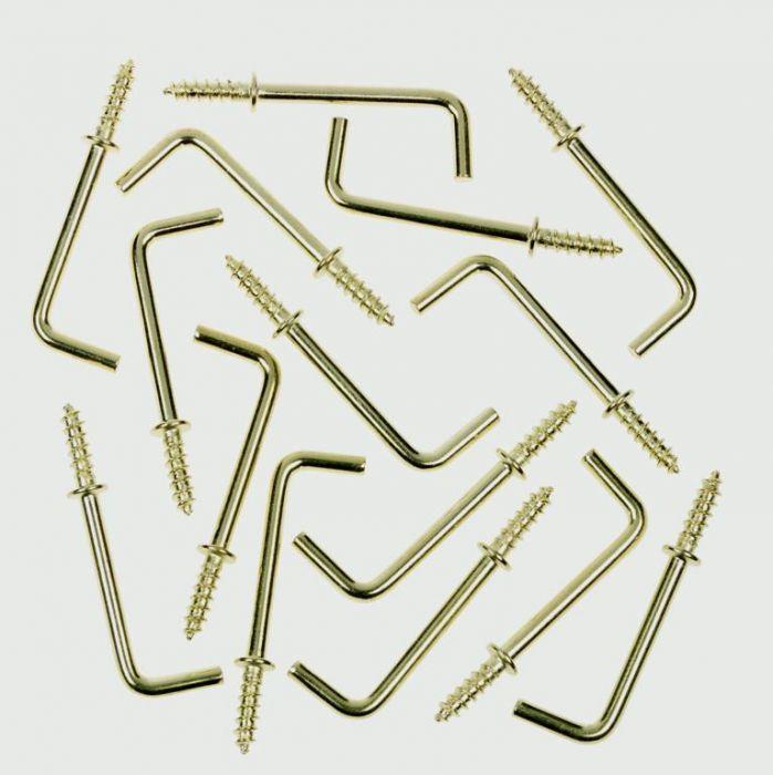 SupaFix Steel Shouldered Square Dresser Hooks 25mm - Brass Plated