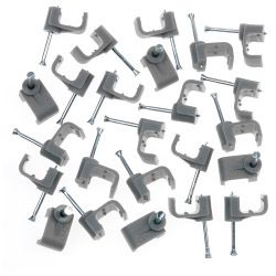 SupaLec Cable Clips Flat Pack of 100 2.5mm - Grey