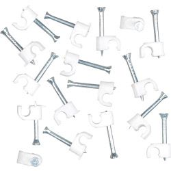 SupaLec Cable Clips Round Pack of 100 4mm - White