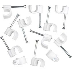 SupaLec Cable Clips Round Pack of 100 7mm - White