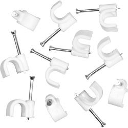 SupaLec Cable Clips Round Pack of 100 8mm - White