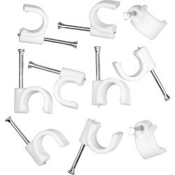 SupaLec Cable Clips Round Pack of 100 9mm - White