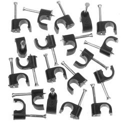 SupaLec Cable Clips Round Pack of 100 6mm - Black