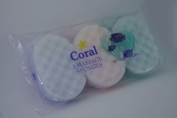 Coral Massage Sponge Pack 3