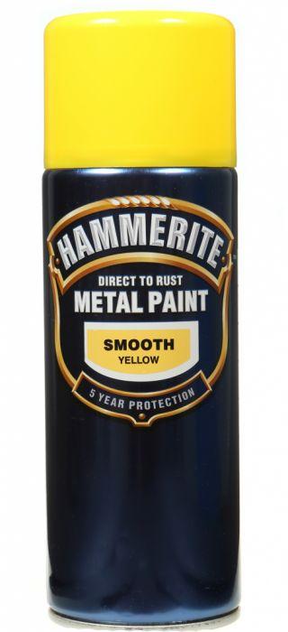 Hammerite Metal Paint 400ml Aerosol Smooth Yellow
