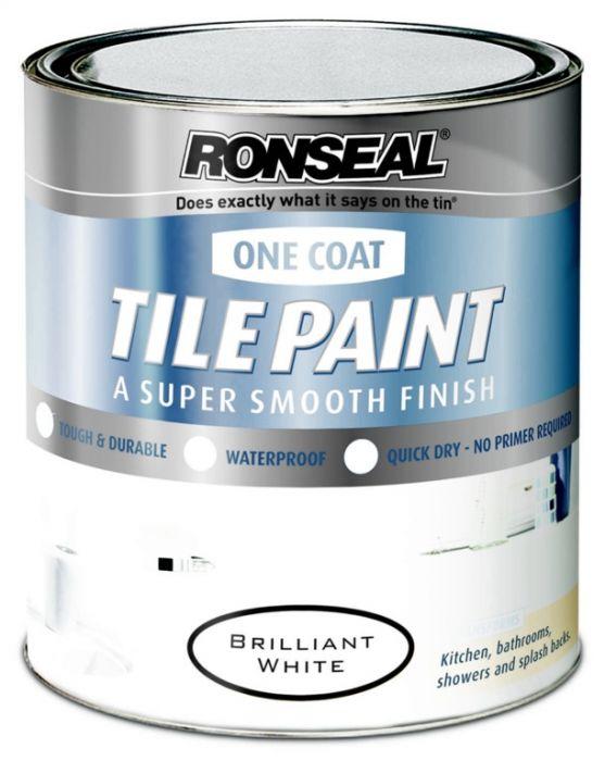 Ronseal One Coat Tile Paint 750ml Brilliant White