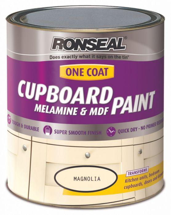 Ronseal One Coat Cupboard Melamine & MDF Paint 750ml Magnolia