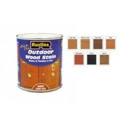 Rustins Quick Dry Outdoor Woodstain 250ml Satin Medium Oak