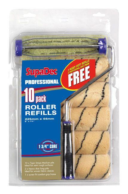 SupaDec 10 Pack Roller Refill 9/255mm