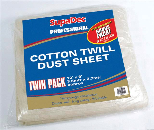 SupaDec Pro Cotton Twill Dust Sheets Twin Pack 12' x 9' (3.6m x 2.7m) approx