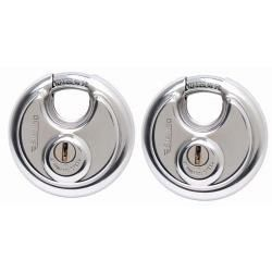 Sterling 2 x 70mm Heavy Security Closed Shackle Disc Padlock Twin Pack - keyed Alike