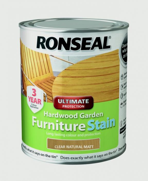 Ronseal Hardwood Furniture Stain 750ml Clear Natural Matt