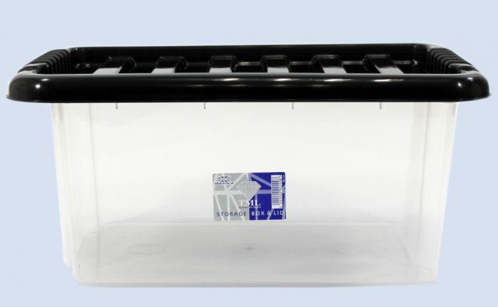 TML Storage Box & Black Lid 14L Clear
