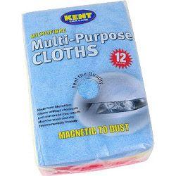 KENT 12 Microfibre Multi Purpose Cloths