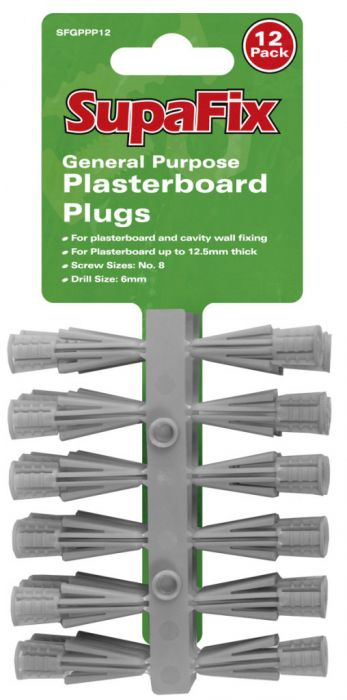 SupaFix General Purpose Plasterboard Plugs Pack 12