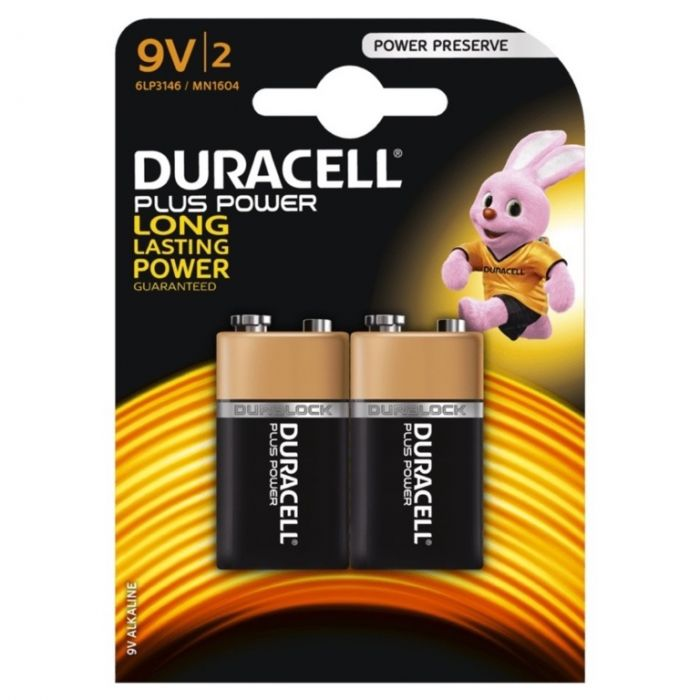 Duracell Plus Power Batteries Pack 2 9V