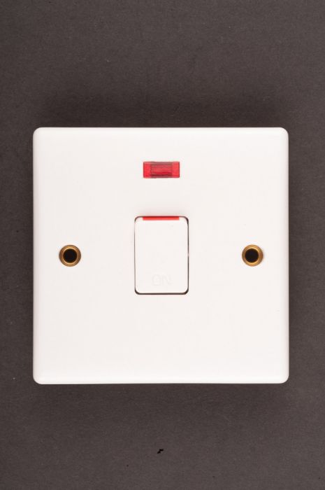 Dencon Slimline 20A Double Pole Flush Switch with Pilot Lamp to BS3676