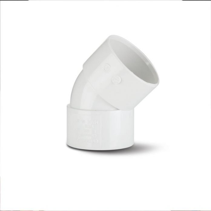 Polypipe Obtuse Bend 45 Degrees 40mm White