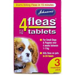 Johnsons Vet 4fleas Tablets for Puppies & Small Dogs 3 Treatment Pack