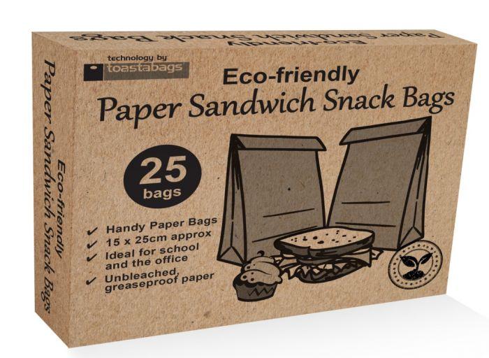 Planit Eco Friendly Paper Sandwich Bags Pack 25
