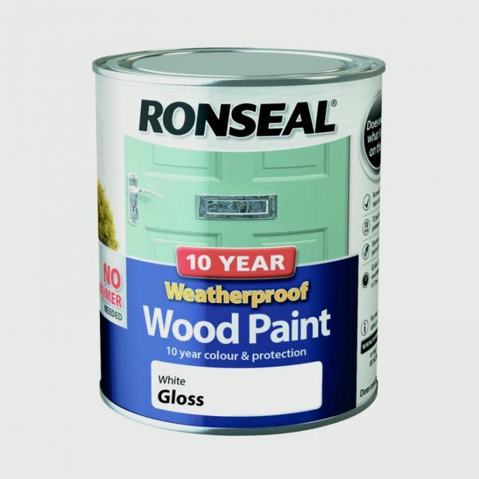 Ronseal 10 Year Weatherproof Gloss Wood Paint 750ml White
