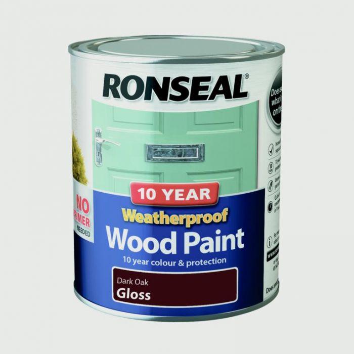 Ronseal 10 Year Weatherproof Gloss Wood Paint 750ml Dark Oak