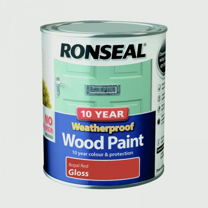 Ronseal 10 Year Weatherproof Gloss Wood Paint 750ml Royal Red