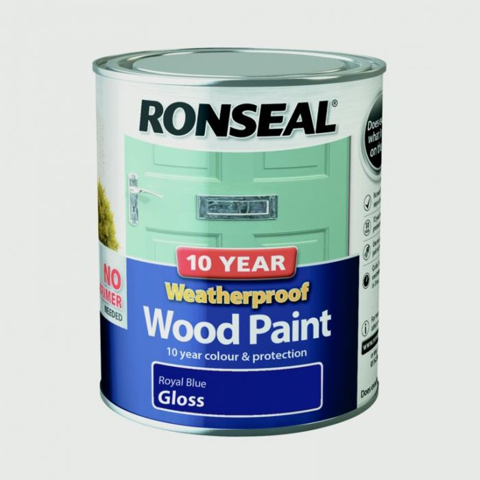 Ronseal 10 Year Weatherproof Gloss Wood Paint 750ml Royal Blue