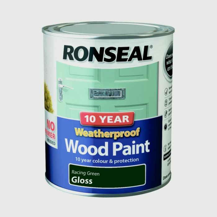 Ronseal 10 Year Weatherproof Gloss Wood Paint 750ml Racing Green