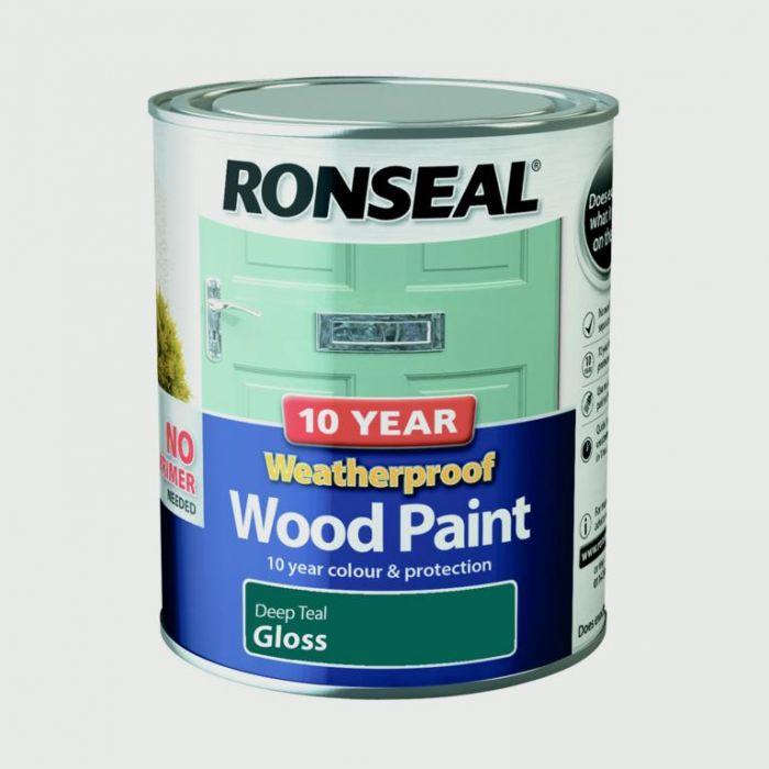 Ronseal 10 Year Weatherproof Gloss Wood Paint 750ml Deep Teal