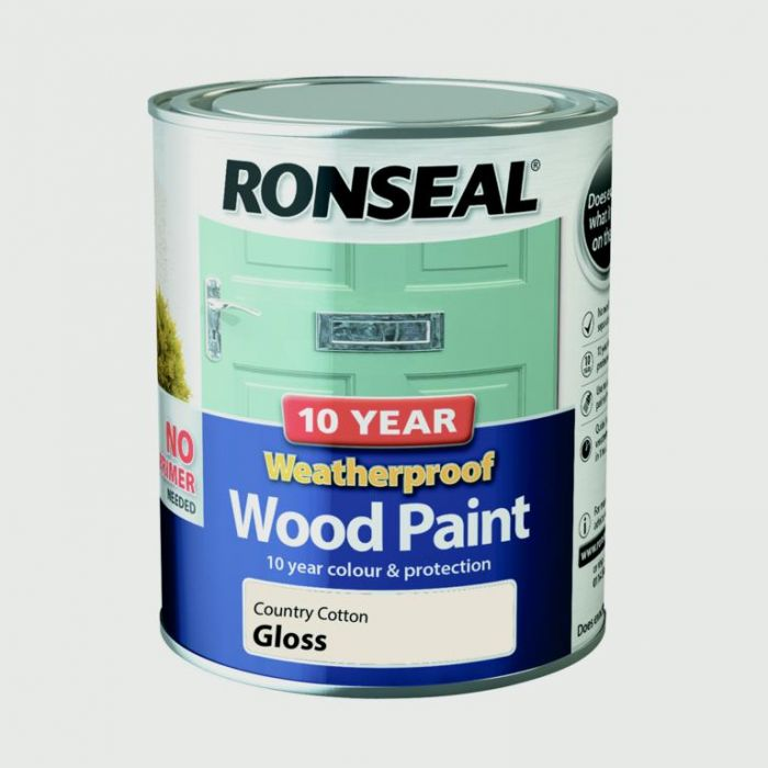 Ronseal 10 Year Weatherproof Gloss Wood Paint 750ml Country Cotton
