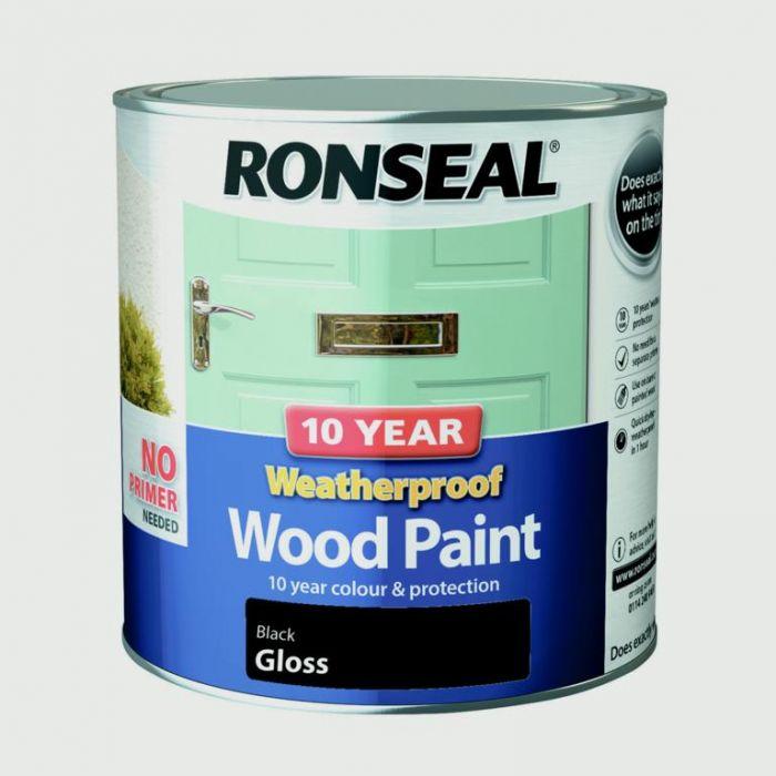 Ronseal 10 Year Weatherproof Gloss Wood Paint 2.5L Black