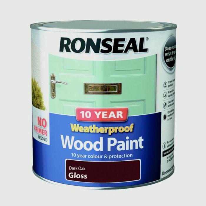 Ronseal 10 Year Weatherproof Gloss Wood Paint 2.5L Dark Oak