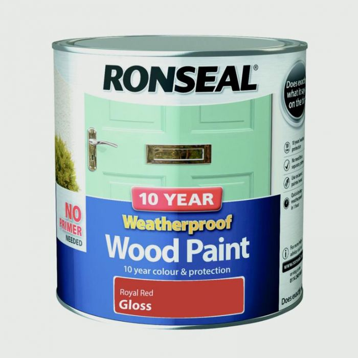 Ronseal 10 Year Weatherproof Gloss Wood Paint 2.5L Royal Red