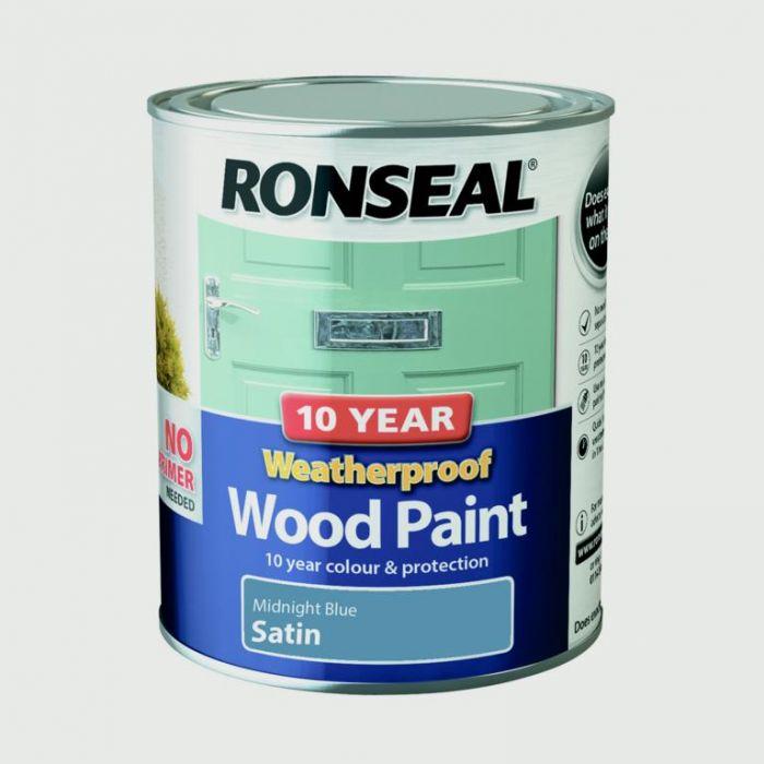 Ronseal 10 Year Weatherproof Satin Wood Paint 750ml Midnight Blue