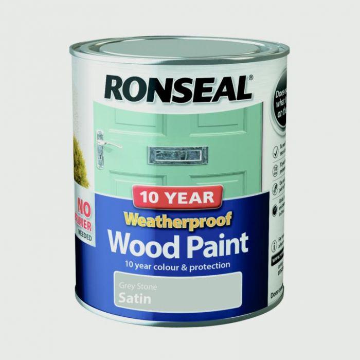 Ronseal 10 Year Weatherproof Satin Wood Paint 750ml Grey Stone