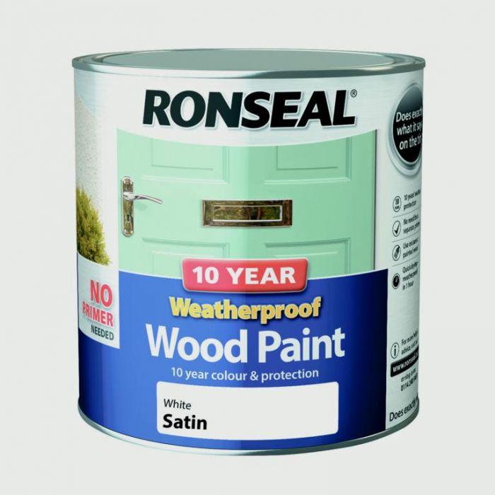 Ronseal 10 Year Weatherproof Satin Wood Paint 2.5L White