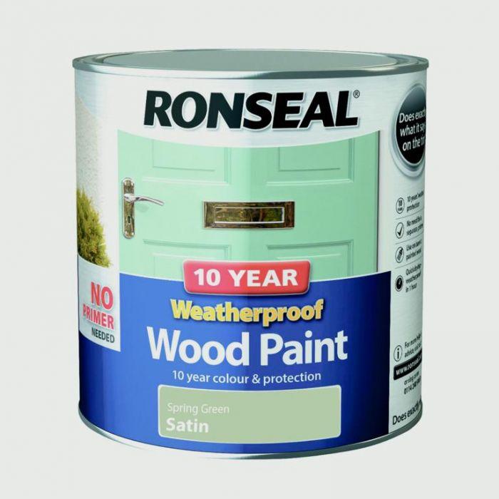 Ronseal 10 Year Weatherproof Satin Wood Paint 2.5L Spring Green