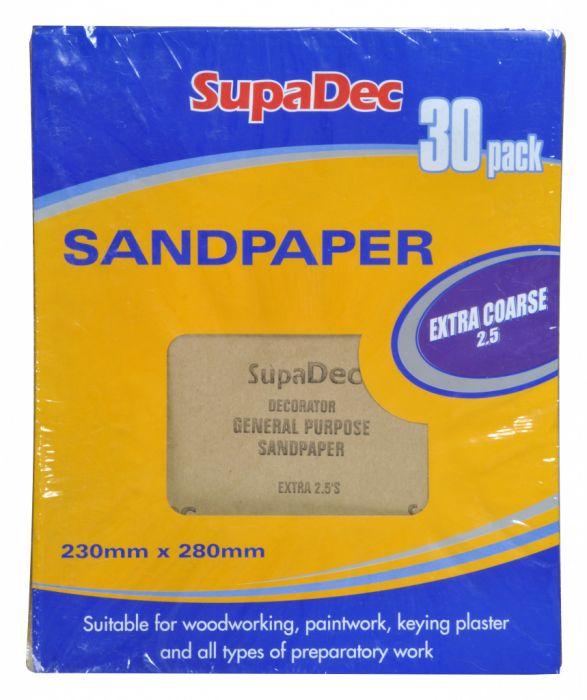 SupaDec General Purpose Sandpaper Pack 30 Extra Coarse 2.5
