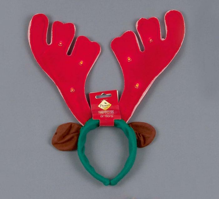 Musical Light Up Antlers Red/Green