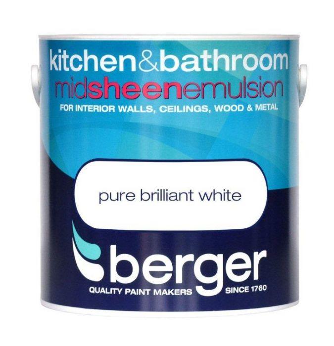 Berger Kitchen & Bathroom Midsheen 2.5L Pure Brilliant White