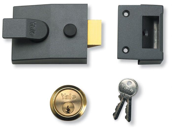 Yale Deadlocking Standard Nightlatch Security Lock Dark Metal Grey + PB Cylinder - 60mm