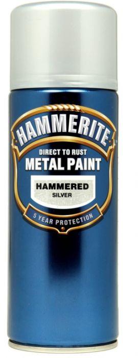 Hammerite Metal Paint 400ml Aerosol Hammered Silver