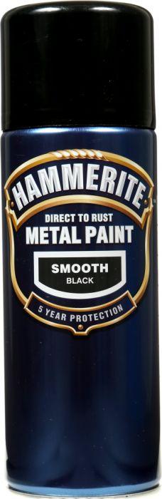 Hammerite Metal Paint 400ml Aerosol Smooth Black