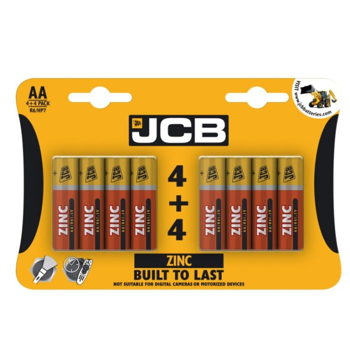 JCB Zinc Batteries 4 Plus 4 AA