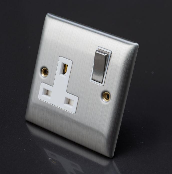 Lyvia Venetian S/S SW/Socket White Insert 1G 13A